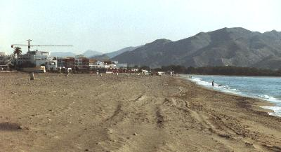 The beach at Vera Playa, early morning, looking north