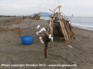 beach debris art - Vera Playa October 2012 - copyright